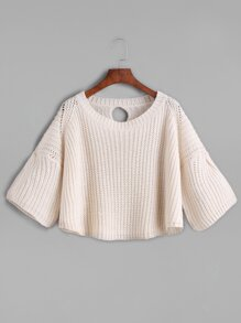 Apricot Ribbed Knit Keyhole Back Bell Sleeve Crop Sweater