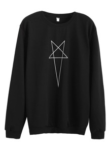 Black Star Print Sweatshirt