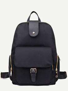 Sac à dos en nylon avec poche et zip - noir