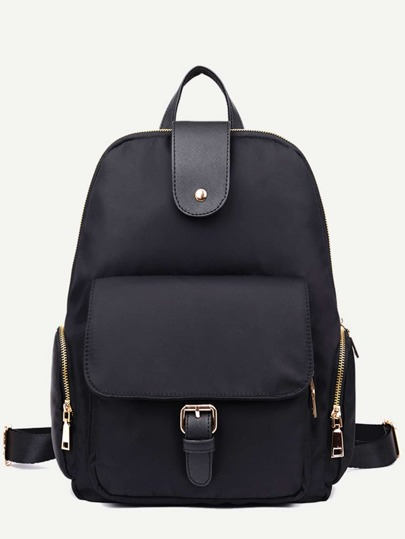 Black Nylon Front Pocket Zip Closure Backpack