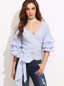 Pinstripe Exaggerated Sleeve Blouse With Bow Tie