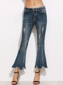 Blue Frayed Scallop Flare Pants