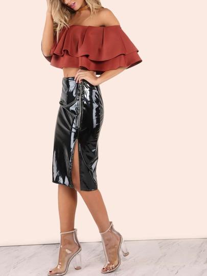Patent Zip Slit Skirt BLACK