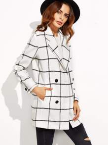 White Grid Double Breasted Coat
