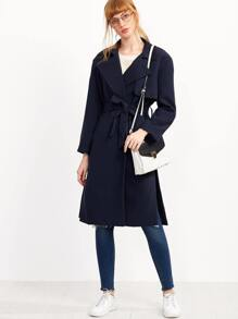 Navy Slit Side Self Tie Layered Trench Coat