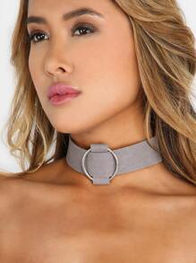Thick Metallic Hoop Choker GREY