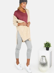 Peppered Knit Cardigan OATMEAL