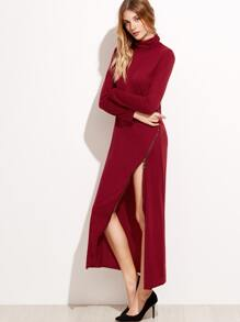 Burgundy Roll Neck Zipper Detail Dress