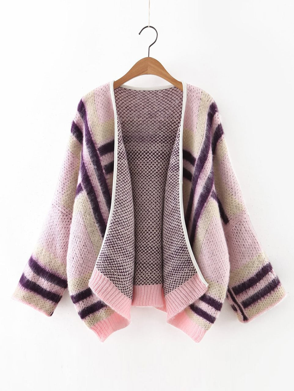 Pink Contrast Ribbed Trim Dolman Sleeve Sweater Coat sweater160924218