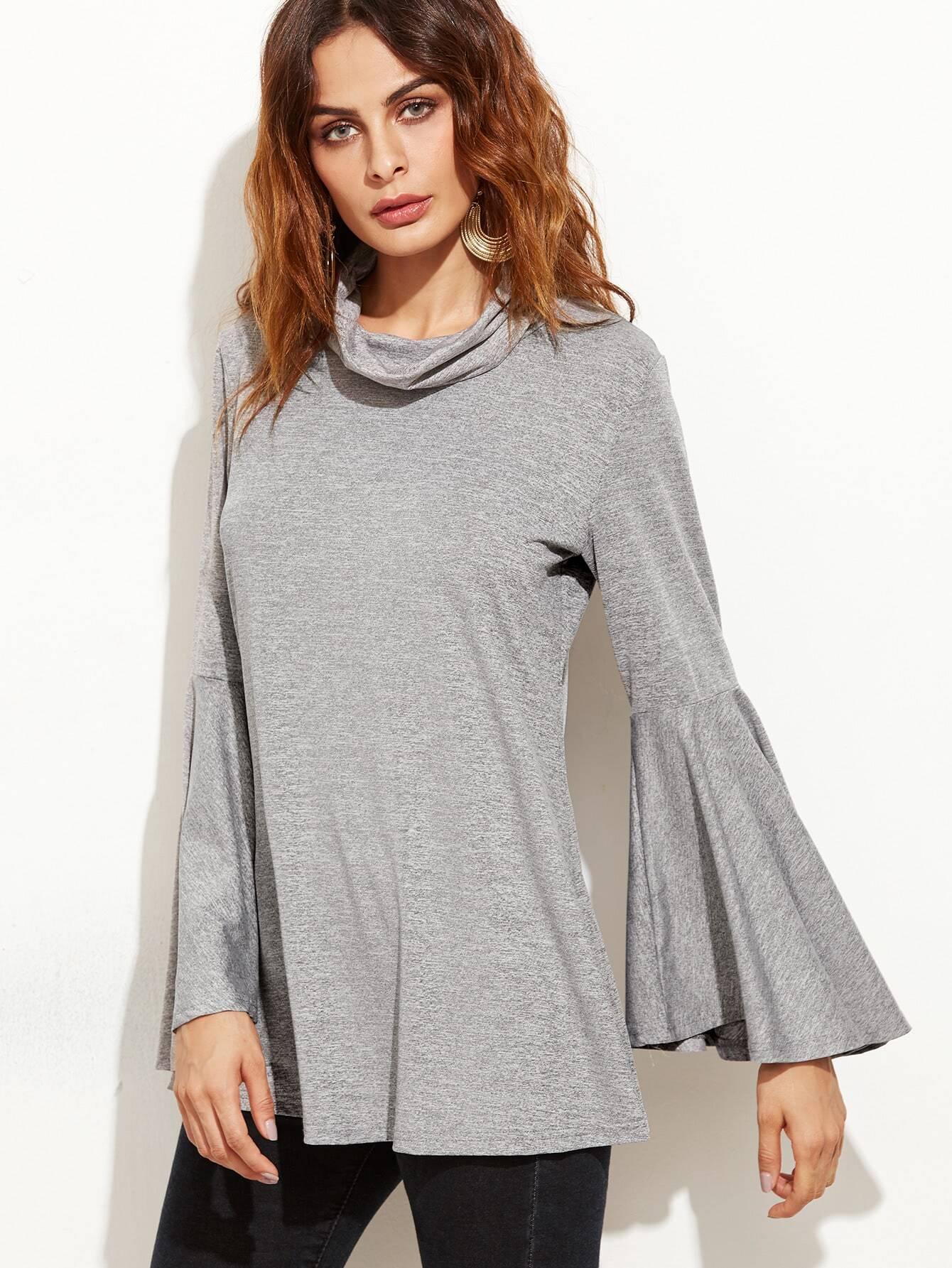 Grey cowl neck bell sleeve wrap back t shirt shein sheinside for Bell bottom sleeve shirt