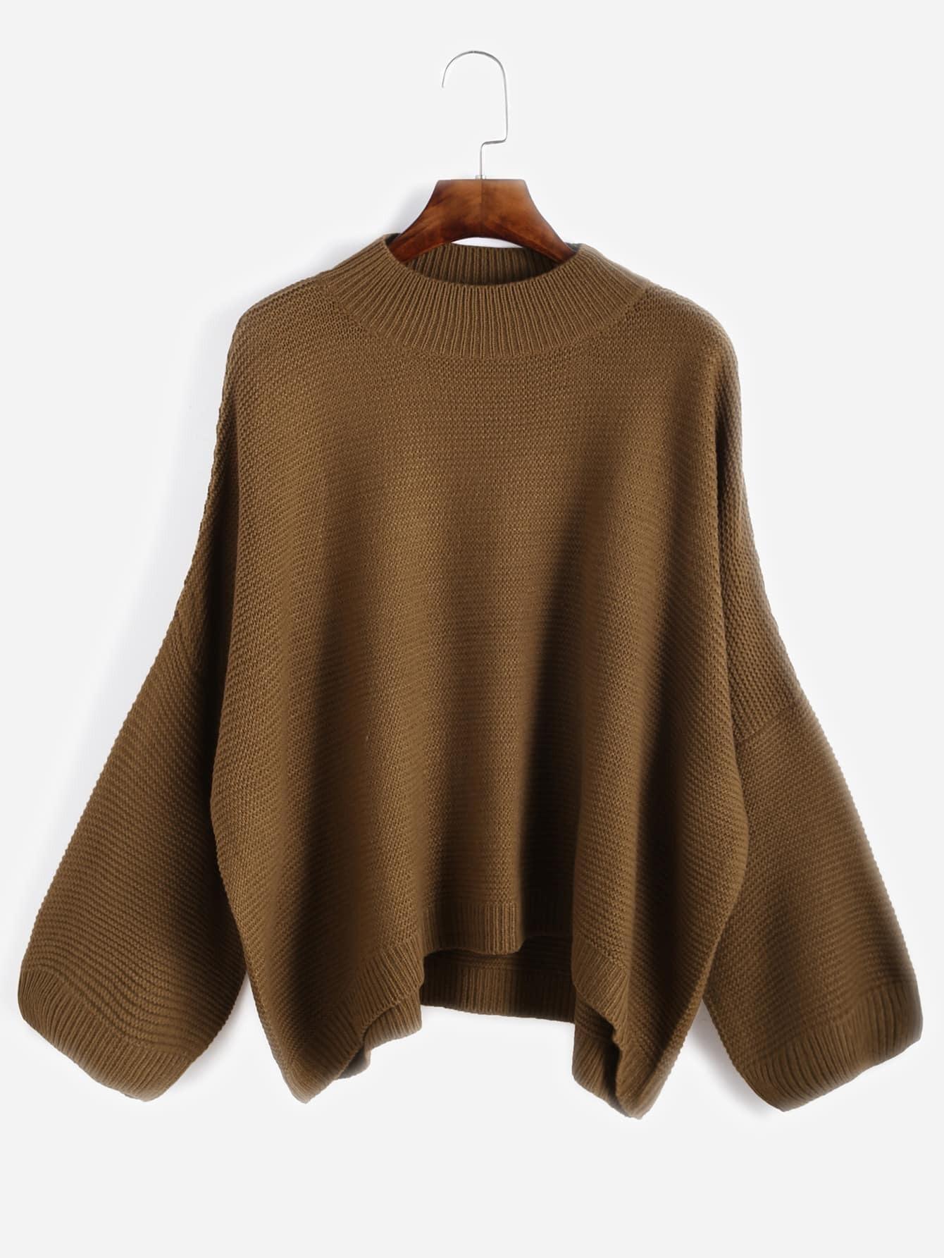Khaki Drop Shoulder Loose Sweater sweater160929004