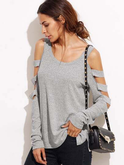 Ladder Cutout Sleeve Slub T-shirt
