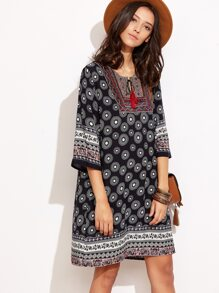 Black Tribal Print Tassel Tie Neck Tunic Dress