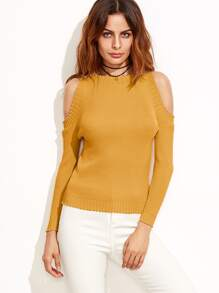Mustard Open Shoulder Ribbed Sweater