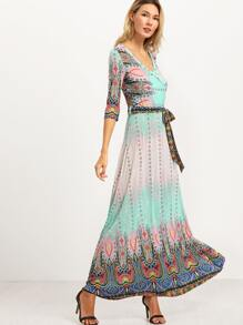 Pink Vintage Print Self Tie Maxi Dress