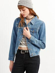 Blue Flower Embroidery Denim Jacket