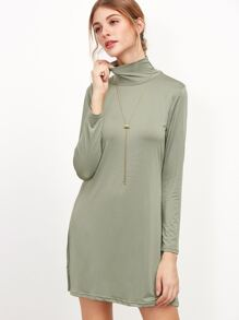 Pale Green High Neck Tee Dress