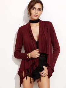 Burgundy Drape Front Fringe Asymmetric Coat
