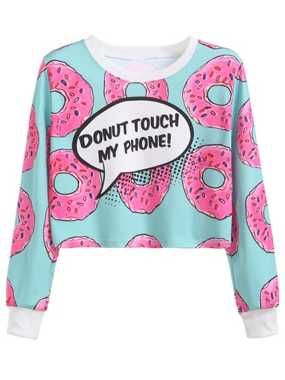 Contrast Trim Donuts Print Crop Sweatshirt