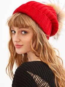 Red Detachable Fur Pom Ribbed Knit Beanie