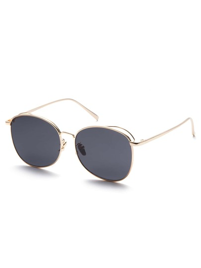 Gold Frame Black Lens Sunglasses