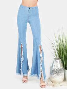 High Waisted Light Washed Torn Flared Pants DENIM