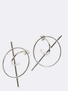Metallic Rod Hoop Earrings SILVER