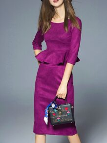 Purple Backless Peplum Top With Split Skirt