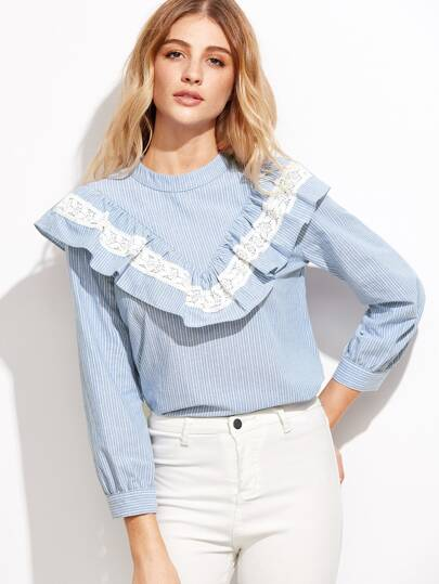 Vertical Striped Lace Detail Frill Trim Blouse