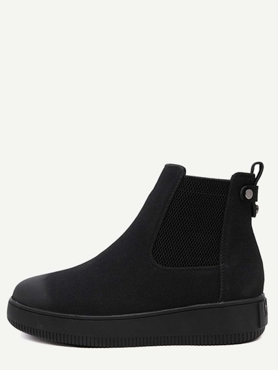 Black Nubuck Leather Elastic Distressed Short Boots