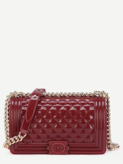 Mini Burgundy Quilted Flap Jelly Bag With Chain