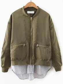 Army Green Contrast Hem Zipper Pocket Flight Jacket