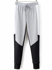 Grey Color Block Drawstring Waist Pants