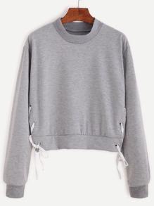 Eyelet Tie-side Crop Sweatshirt
