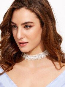 White Eyelash Fringe Lace Choker Necklace