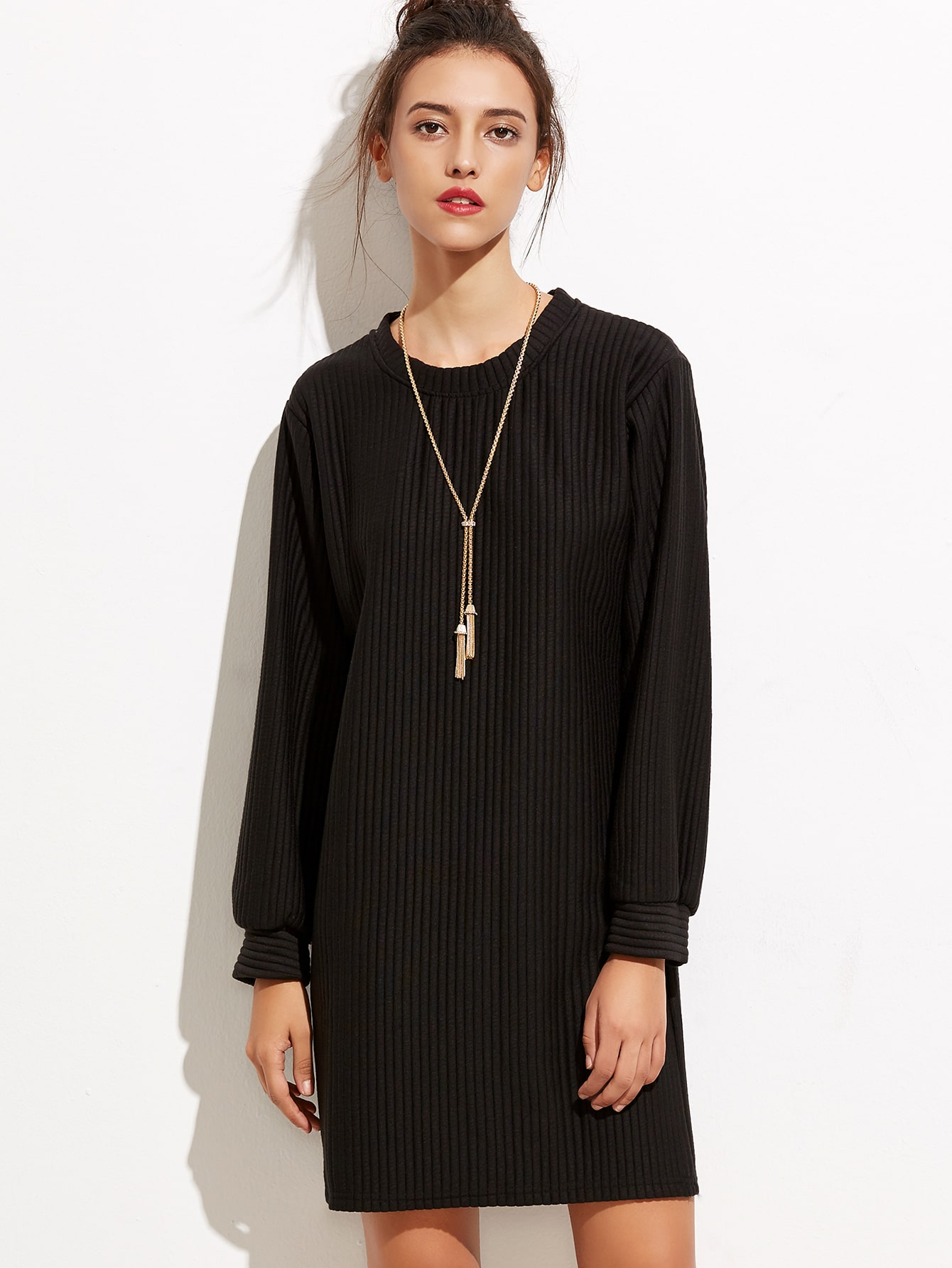 Black Ribbed Long Sleeve Tunic Dress dress160919104