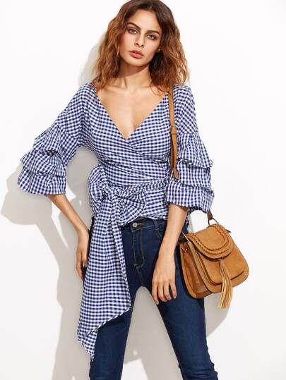 Navy Gingham Billow Sleeve Surplice Wrap Blouse