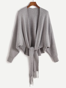 Grey Batwing Sleeve Fringe Trim Cardigan