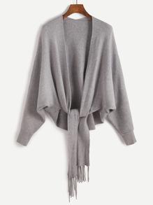 Batwing Sleeve Fringe Trim Dip Hem Cardigan Sweater