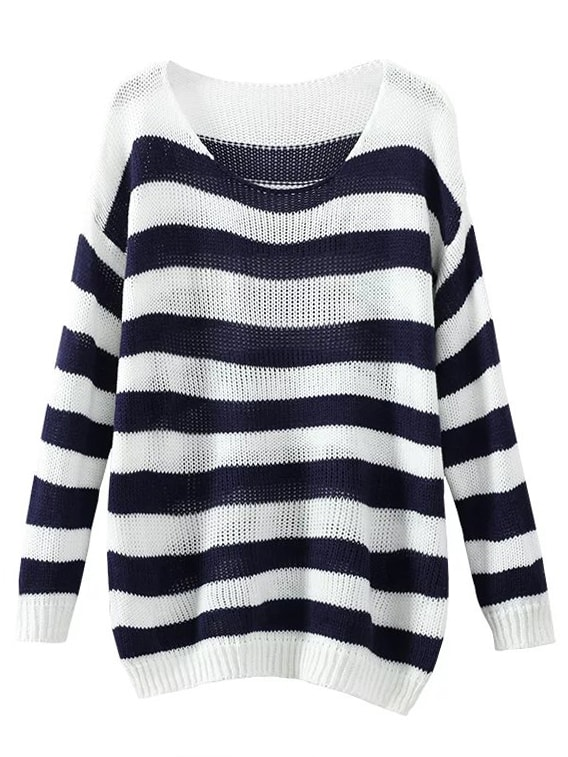 Contrast Striped Ribbed Trim Slouchy Sweater sweater161006218