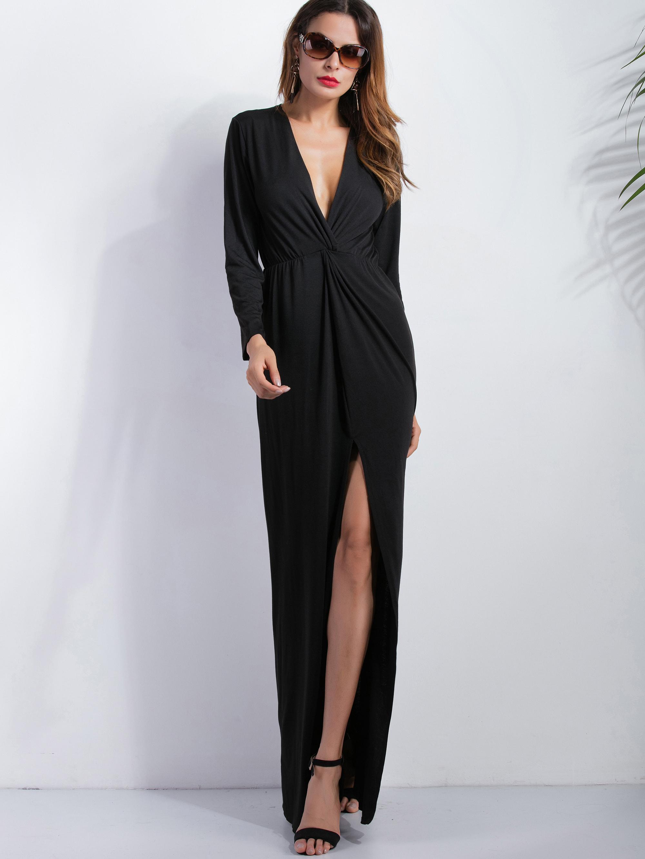 Black Deep V Neck Slit Front Maxi Dress dress161005110