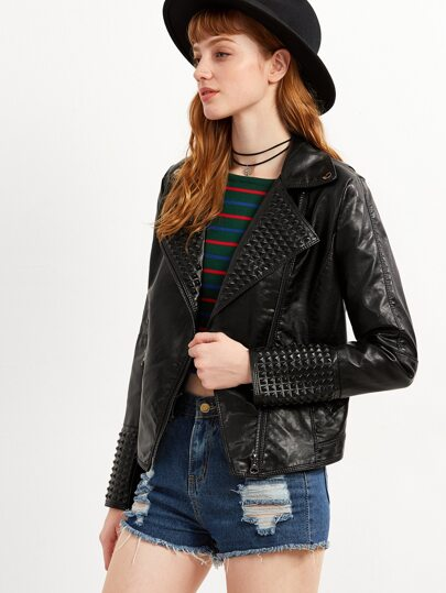 Black Lapel Oblique Zipper PU Moto Jacket