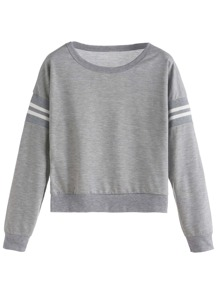 Grey Varsity Striped Crop Sweatshirt