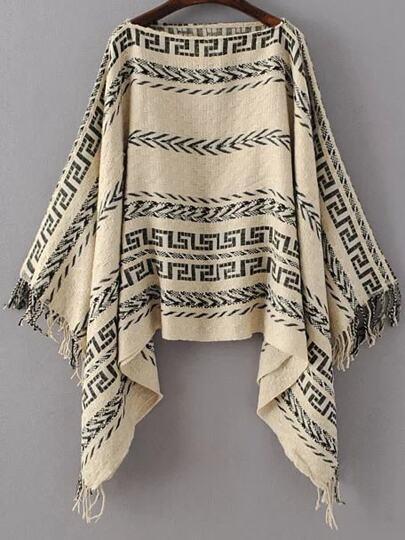 Khaki Tribal Pattern Boat Neck Fringe Poncho Sweater