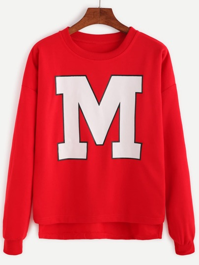 Red Letter Print High Low Sweatshirt