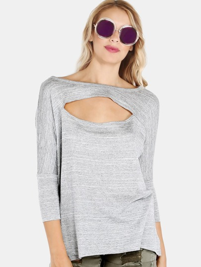 Cut Out Heather Knit Top GREY