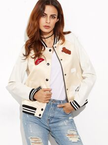 Apricot Striped Trim Contrast Raglan Sleeve Baseball Jacket