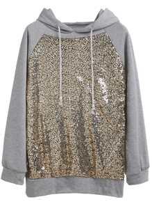 Grey Raglan Sleeve Sequin Hooded Sweatshirt