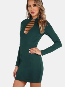 Plunging Strap Sleeved Dress HUNTER GREEN