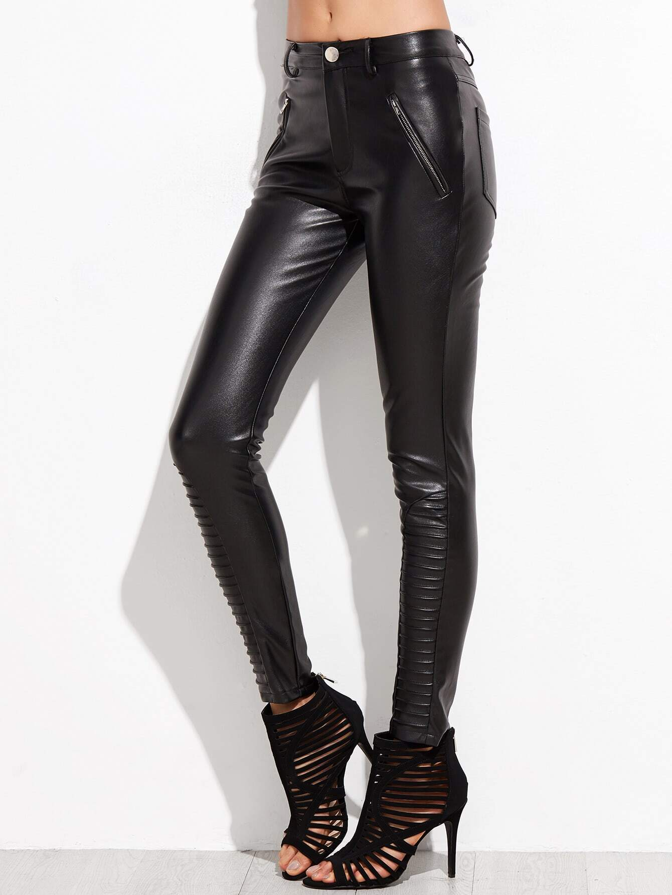 Black faux leather skinny pants with slanted metal zipper accents. Womens Leather Pants at leathernxg Black faux leather skinny pants with quilted panels and slanted zippers will elevate your Fall/Winter style. Black faux leather skinny pants with quilted panels and slanted zippers will elevate your Fall/Winter style.